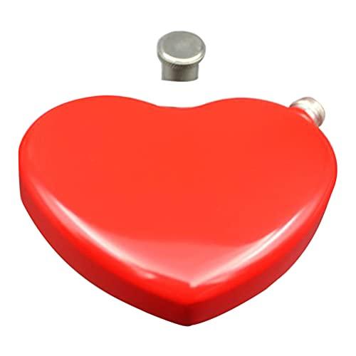 Cabilock Petaca de acero inoxidable con forma de corazón, botella de vino, vaso de chupito, botella de whisky, regalo para hombres, padres, camping, senderismo, escalada
