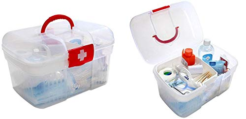 Sonani Clear White Double Layers Health Care First Aid Medicine Storage Box Case Holder