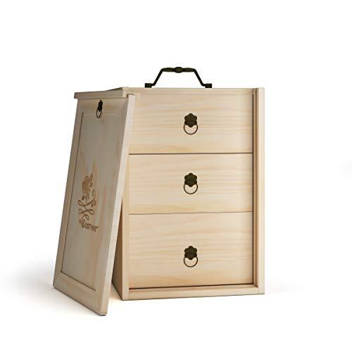 COSTWAY 75 Fächer ätherisches Öl Organizer, 3 Etagen hölzerne ätherische Öl-Box, Aufbewahrungsbox, Display Ständer mit Schublade, Holz Box Veranstalter (Modell 2)