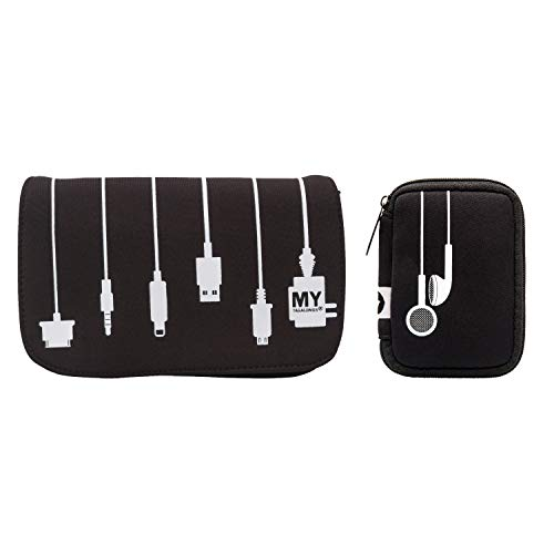 MYTAGALONGS Ear Bud Case & Charger Case Bundle   Travel Case for Headphones, Chargers and Cords, Ear Bud Holder, Headphone Carrying Case, Cable Organizer