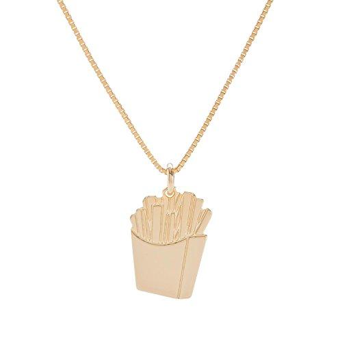 Malaika Raiss Halskette Damen Gold Pommes de Frites Anhänger Messing 24 Karat vergoldet - N3166