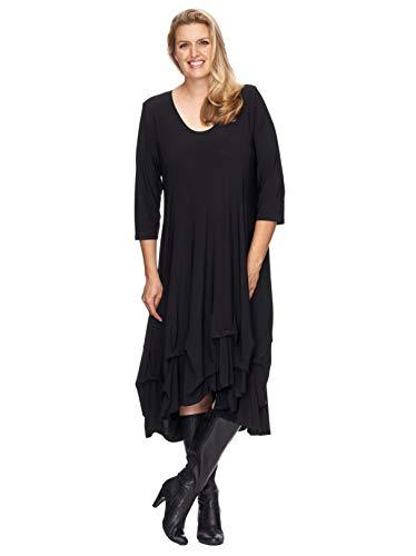 Magna® Damen Tunika Kleid mit Raffungen, extravagant, Top Trendfarben Farbe schwarz, Größe 52/54