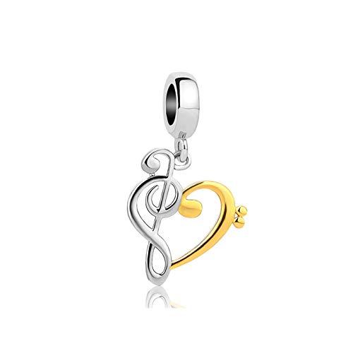 MiniJewelry Melody Love Heart Dangle Charm for Bracelets Music Notes fits Pandora Charms Bracelets