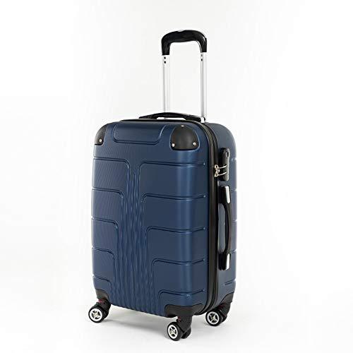 Koffer Kofferset Trolley Hartschale Reisekoffer 4 Rollen A12 M-L-XL-Set (Dunkelblau, M)
