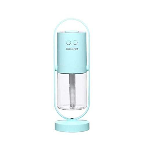 KUNXIAOY Humidificador de Aire USB Esenciales Difusores de Aceite for aromaterapia ultrasónico del Aroma Difusores Niebla humidificadores con 7 LED de Color 360 ° Rotación (Color : Lightblue)
