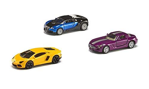 SIKU 6301, Geschenkset - Sportwagen, Metall/Kunststoff, Multicolor, Spielkombination, 3 Sportwagen