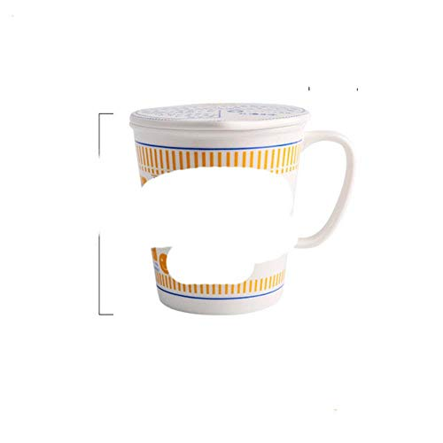 Tazón de taza de cerámica de fideos instantáneos creativos estilo ins con tapa caja bento Caja de almuerzo para estudiantes Tazón de sopa de fideos instantáneos set-CN, 680ML