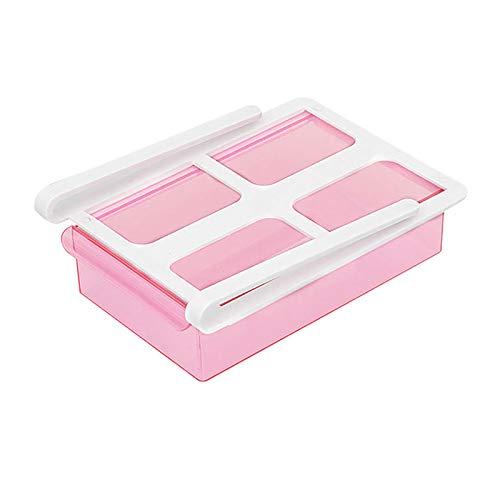 Caja de almacenamiento para nevera, organizador de cajón de nevera, organizador de plástico para ahorrar espacio, estante extraíble para nevera, organizador para huevos, verduras y frutas (rojo rosa)