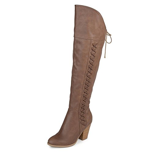 Brinley Co. Regular and Wide Calf Faux Leather Faux Lace-up Over-the-knee Boots Brown, 10