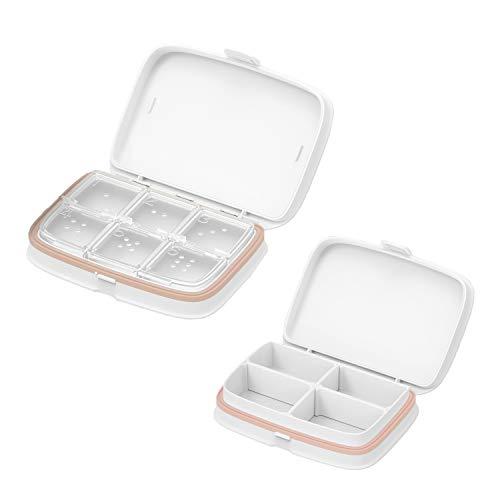 Pastillero Organizador-Estuche compacto hermético impermeable para pastillas-con compartimento individual extraíble (Blanco L + S) ✅