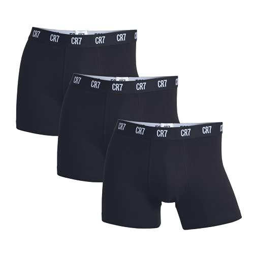CR7 8100-49-900 Cristiano Ronaldo Underwear, confezione da 3 boxer « Basic » per uomo, morbidi e confortevoli, 95% cotone 5% elastan, nero, taglia M