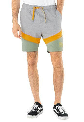 Sky Rebel Herren Sweat-Shorts im Colorblock Style mit Kordel Light-Grey L
