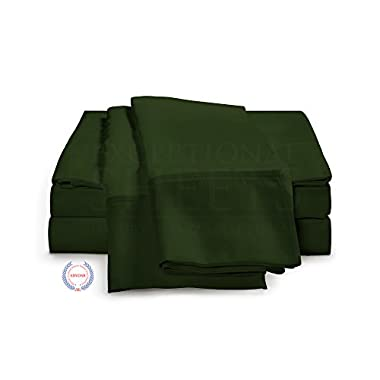 eLuxurySupply 400 Thread Count - Long Staple Cotton Sheet Set by ExceptionalSheets, King, Hunter Green