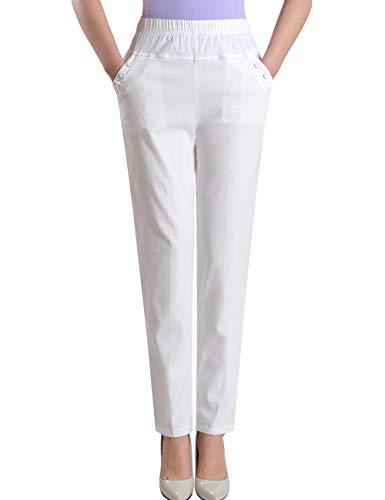 Zoulee Summer Women's Petite Elastic Waist Linen Pull-on Straight Pant White S