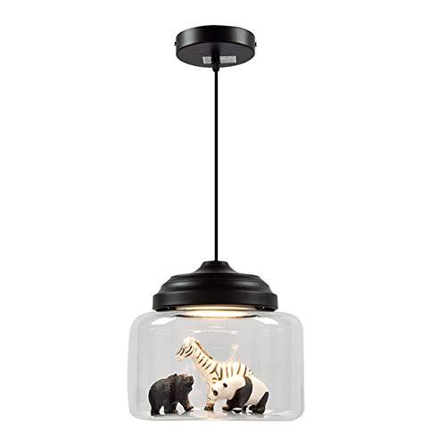 Adoudou LED Pendelleuchte für Kinderzimmer 9W Deckenleuchte Kreativ Tierglas Lampenschirm Hängelampe Dekoration Schlafzimmer Mädchenzimmer Flur-Schwarz Kaltweiß