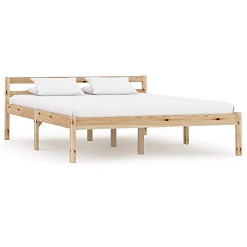 vidaXL Massief Grenenhouten Bedframe 140x200 cm Bed Frame Ledikant Bedombouw