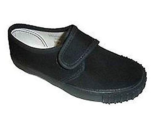 Smart Clothing Neuf En Sac Noir Ecole Unisexe Garçon Fille Pe Baskets Velcro Chaussures Tennis - Noir, 27
