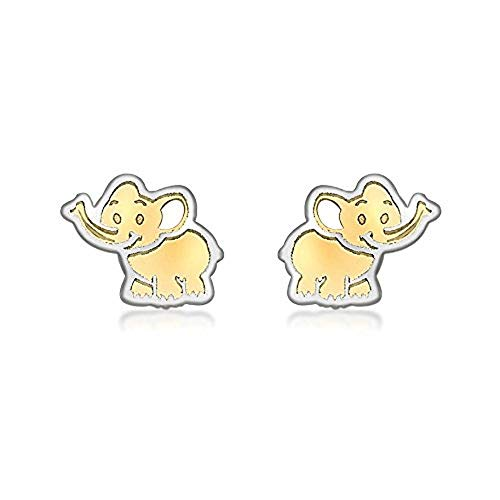 Carissima Gold 9ct 2 Colour Gold Baby Elephant Stud Earrings