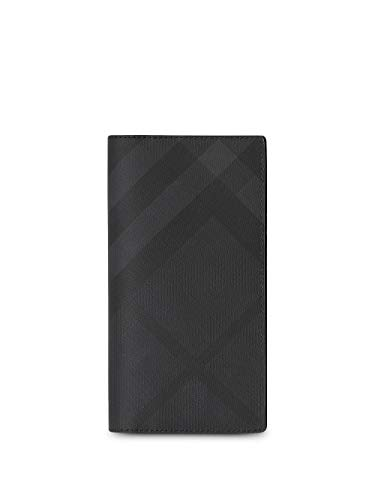 Burberry London Check and Leather Continental Wallet Dark Charcoal