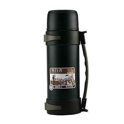 WENSISTAR Koffie Travel Mok voor buiten, RVS vacuüm kolf, outdoor grote capaciteit isolatie pot, draagbare reisfles@black_1.8L, Auto Tumbler Cup voor Koffie