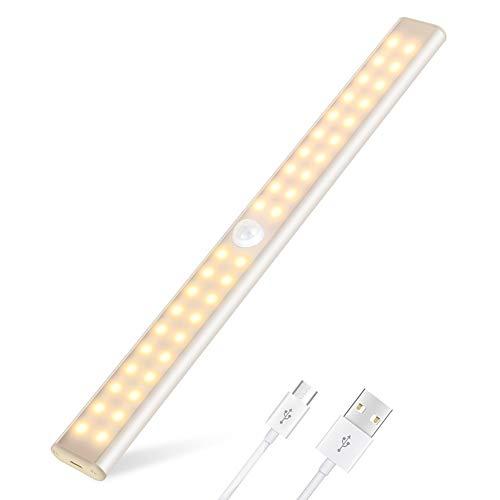 40 LED SchrankLicht, LED Schrankbeleuchtung mit Bewegungsmelder, 4 Modi, Dimmbare, 1000mAh Wiederaufladbar Batterie, mit Magnetstreifen, LED Sensor Licht für Kleiderschrank, Küche, Treppe, Notfälle