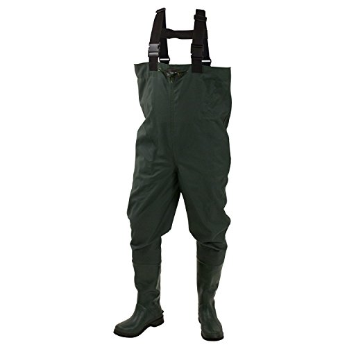 Frogg Toggs Cascades 2-ply Poly/Rubber Bootfoot Chest Wader, Cleated Outsole, Forest Green, Size 11