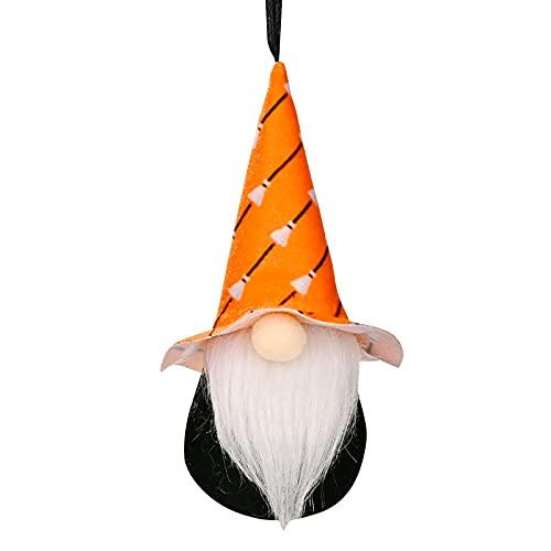 Briskorry Halloween Zwerg Plüsch Deko Zwerg Puppe Gesichtslose Puppe Zwerge Ornamente für Halloween Zu Hause Dekoration 1 Stücke (Orange)