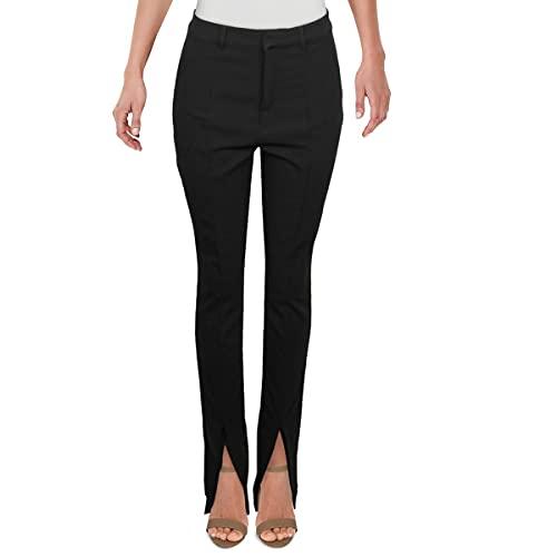 Danielle Bernstein Womens Slit Leg Slim Fit Pants Black 8