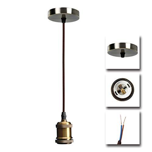 NUODIFAN Vintage lampenfassung/Retro Antike Edison Lampenaufhängu Pendelleuchte Hängeleuchte/ E27 Lampenfassung Kupfer Metall mit Textilkabel/1-flammig/ohne Leuchtmittel