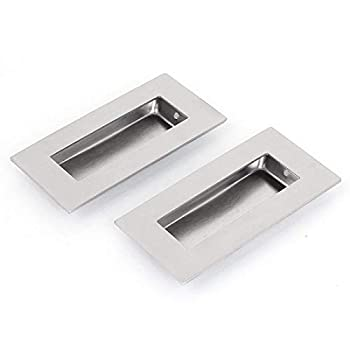 LUOYIMAO 2pcs Stainless Steel Flush Pull Rectangular-Satin Brushed Free Sharp Edge  002#