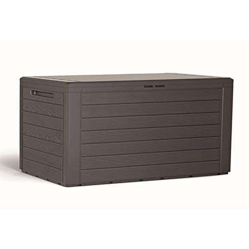 Mojawo Kunststoff Auflagenbox Kissenbox Gartenbox Gartentruhe für Polsterauflagen Kunststoff Mokka wasserdicht 280 Liter