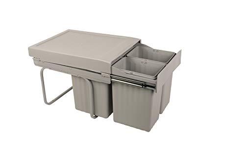 Sanitop-Wingenroth Ausziehbarer Mülleimer Küche | 31 l Einbaumülleimer | Trennsystem: 16 l + 2 x 7,5 l | 3-fach Trennung | Abfallsystem | Abfallsammler | Bodenmontage | Kunststoff Grau | 28017 4