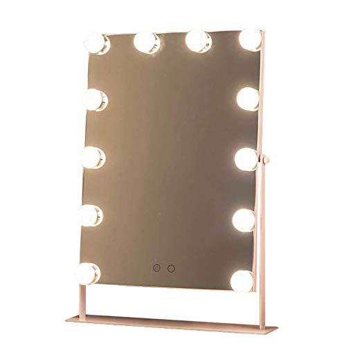 HZJ Maquillaje Espejo Luz Espejo Fill Light Led Bombilla Arriba Y Hacia Abajo 360 Grados de Rotación de Espejo de Tocador Espejo de Maquillaje Espejo Luz,Conexión-Rosa,12 Bombillas