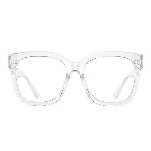 JIM HALO Gafas bloqueadoras de luz azul para mujeres Gafas cuadradas de gran tamaño para computadora Reduce la fatiga ocular Borrar