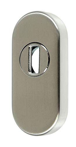 SN-TEC Schutzrosette/Schieberosette/Zylinderschutz oval mit Kernziehschutz 11,5mm Edelstahl VA Rostfrei
