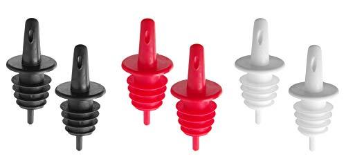 HENDI Freeflow Ausgießer, 2x Schwarz, 2x weiß und 2x rot, Ausgießer, Stückzahl: 6, EVA-Kunststoff