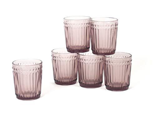 Gerimport Pack de 6 Vasos de Cristal Lila Medidas 9x9x10 cm Capacidad 300 ml