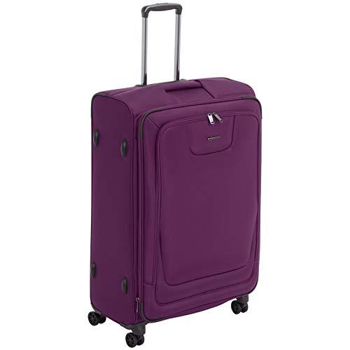 Amazon Basics, Premium, valigia espandibile, morbida, con rotelle multidirezionali e chiusura TSA, 74 cm, Viola