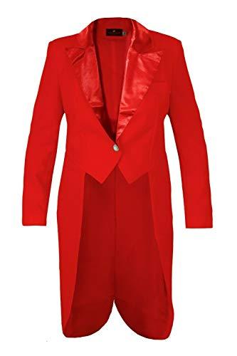 M&G Atelier Damen Frack Rot Kostüm Karnevalskostüm Gehrock Kostüm Fasching Handarbeit Gr. 36-54 (54)