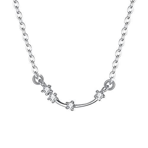 Clearine Halskette Sternzeichen 925 Sterling Silber CZ- Widder Sternbild 12 Horoskop Astrologie Anhänger Kette klar für Damen Mädschen
