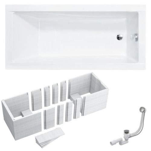 VBChome Badewanne 180x80 cm Acryl SET Siphon Wanne Rechteck Weiß Design Modern Wannenträger Styropor Ablaufgarnitur Chrome Viega Simplex