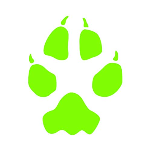 RDW Coyote Tracks Sticker - Decal - Die Cut - Hunting Print Marks - Lime Green 1.50' x 1.92'