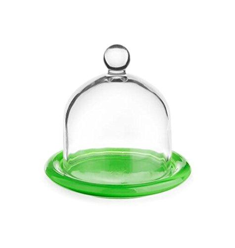 Cloche en verre avec plateau, 6 Ø 9,5 cm - Variantes cloche citron / oignon / dôme vert