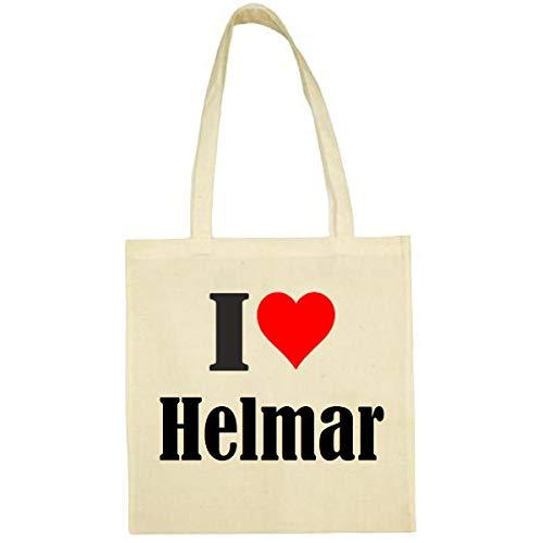 I Love Helmar - Bolsa de la compra (38 x 42 cm), color negro o blanco, beige (Beige) - Tasche_112534_natur