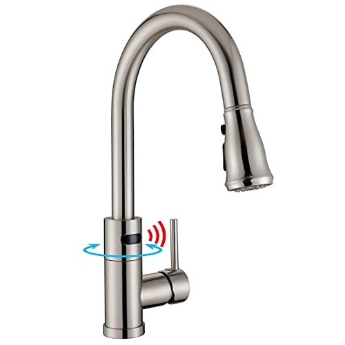 WILLSLAND Touchless Kitchen Faucet, Swivel Motion Sensor Kitchen Faucet Touchless with 3-Mode Pull Down Sprayer, Brushed Nickel Anti-Fingerprint Hands Free Faucet Brass Body