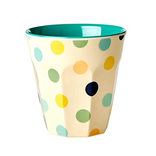 Rice - Melamin Cup / Becher - Cream - Dots Print green - Punkte - medium