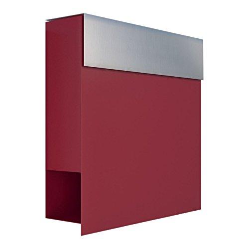 Briefkasten mit Zeitungsfach, Design Wandbriefkasten Manhattan Rot/Edelstahl - Bravios