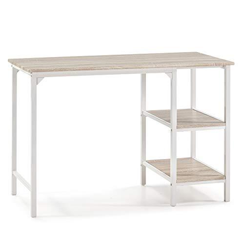 VS Venta-stock Mesa de Escritorio Colón Blanco, Mesa de Ordenador, 2 estantes, Estilo Industrial, 110 (Largo) x 55 (Profundo) x 76 (Altura) cm