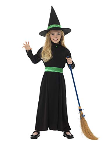 Smiffy'S 48008M Disfraz De Bruja Malvada Con Vestido Y Sombrero, Negro, M - Edad 7-9 Aos