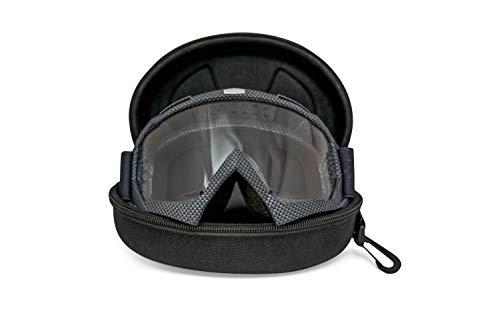 LEHUMAN Premium Motorcycle Goggles Dirt Bike Goggles | Set of 2 Lens (Clear & Mirror) With Hard Case | Motocross Offroad ATV Snowmobile Riding | Anti-Slip Adjustable Grip Strap | Men Women Adult Kids